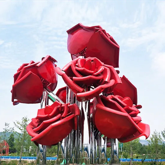 Modern Red Stainless Steel Outdoor Sculpture Rose Flowers with Corrosion Stability