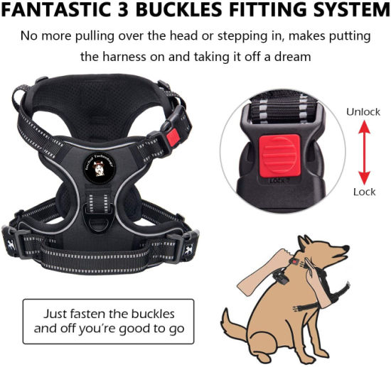 Reflective Stripe with Lock Strong Heavy Stitching Dog Harness