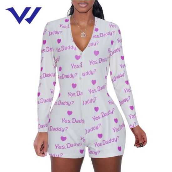 China New Design Sexy Deep V Neck Sleepwear Women Rompers Printed Long Sleeved One Piece Hot Pants Party Jumpsuit Women China Sexy Deep V Neck Sleepwear And Women Rompers Printed Price
