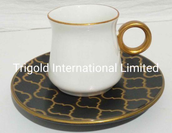 Turkish Greek Arabic Coffee Espresso Cup Saucer Porcelain Set Arabesque Pattern Cups