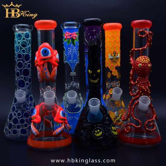 Wholesale Glow in The Dark Glass Water Pipe 3D Painting Metallic Color Tinted Glass Smoking Pipe