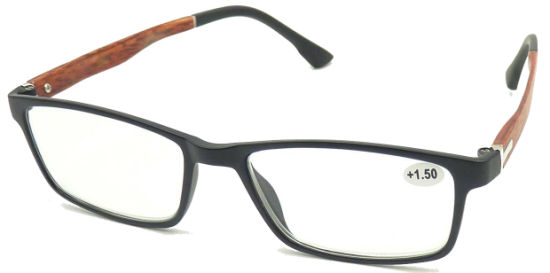 R17032 Square Frame Reading Glasses with Wooden Imitation Pattern Mens Style
