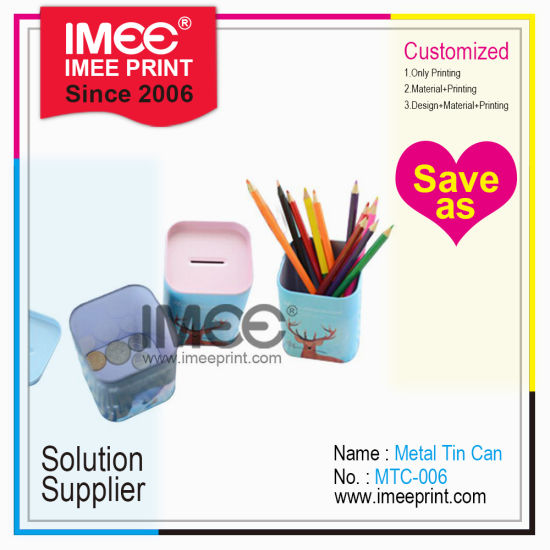 Imee Custom Logo Printing Wholesale Lovely Children Kids Girl Boy Money Pencil Pen Storage Tin Vase Box pictures & photos