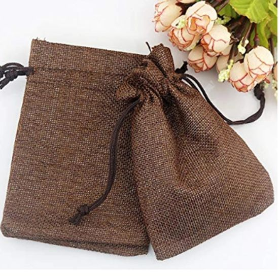 Wholesale Promotional Linen Christmas Drawstring Gift Bags