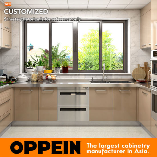 China Oppein Wet And Dry Stainless Steel Kitchen Cabinet With Stainless Steel Countertop Op17 St02 China Kitchen Furniture Stainless Steel Cabinets