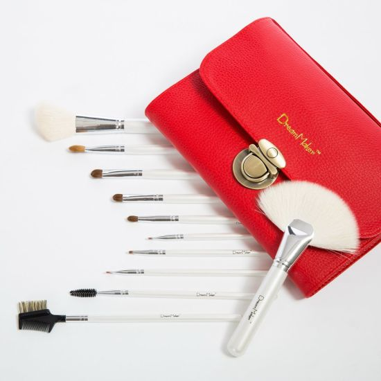 Wisdom 26PCS Goat Hair Cosmetic Brush Set with Red PU Case pictures & photos