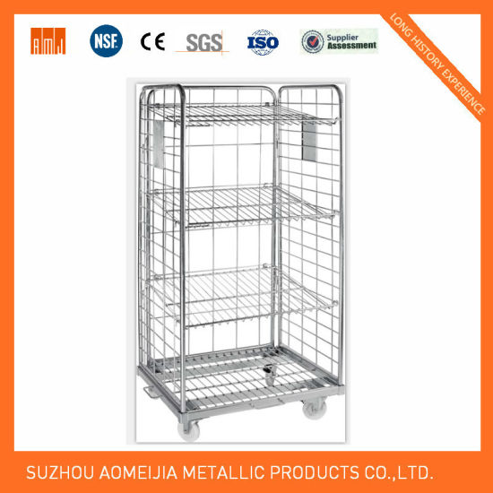 Folding Metal Mesh Roll Container Logistic Roll Cage 2