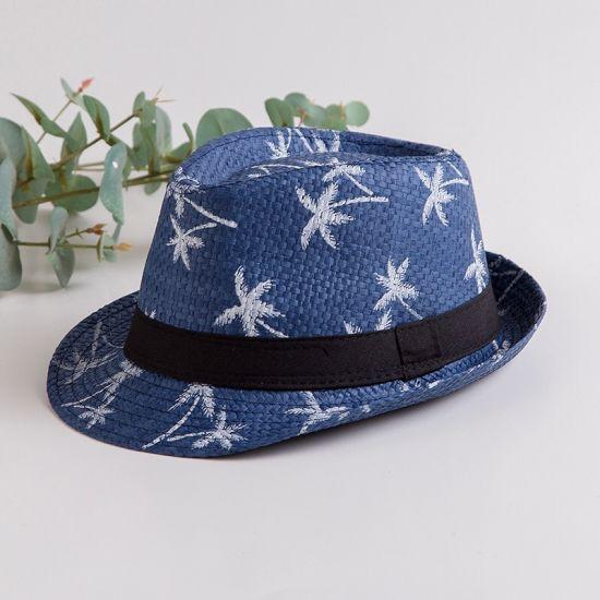 Wholesale Straw Fedora Trilby Hats Ecuador Coconut Tree Printed Panama Hats with Black Band