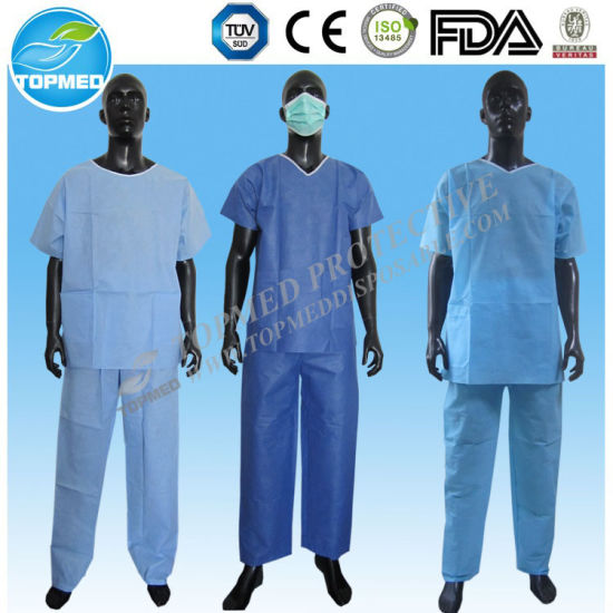 Disposabale Patient Pajamas, Nonwoven Medical Surgical Scrub Suits pictures & photos
