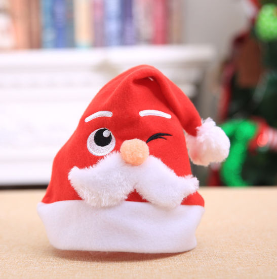 Wholesale Customized Embroider Logo Non Woven Fabric Santa Claus Hat Plush Leaves Pattern Hat Merry Christmas Hat pictures & photos