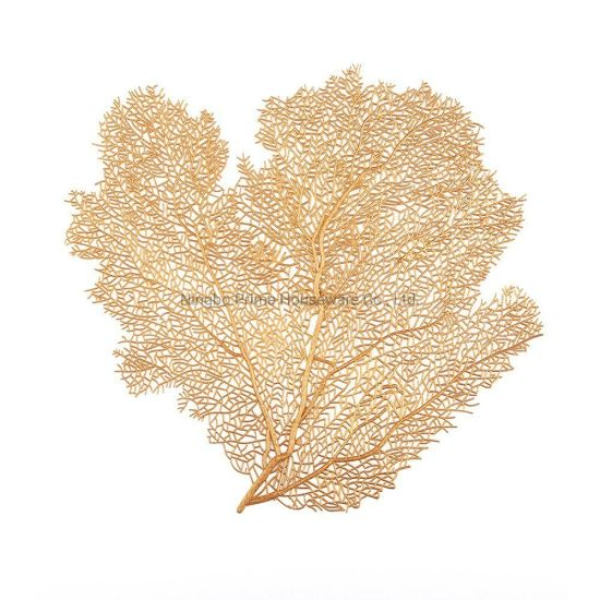 Coral Gold Silver PVC Insulation Non Slip Placemat for Table Decoration, Kitchen, Wedding, Dinner