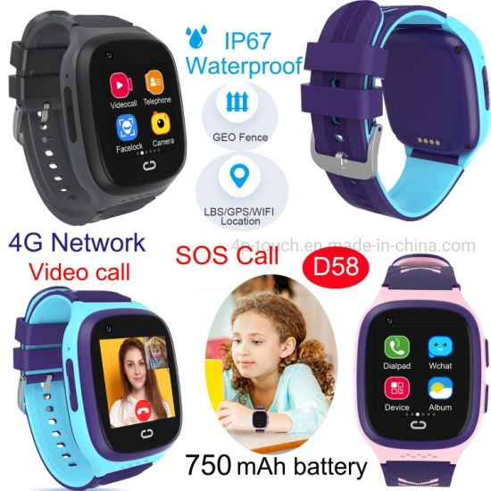 IP67 Waterproof 4G Child Kids Smart Phone SOS parental Control watch Tracker GPS for avoid abducting D58