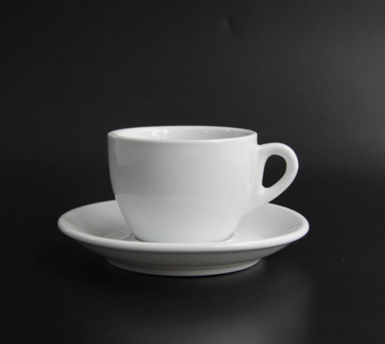 175 Ml 6 Ounce White Porcelain Cappuccino Cups with Saucers for Specialty Coffee Drinks, Latte, Cafe Mocha and Tea