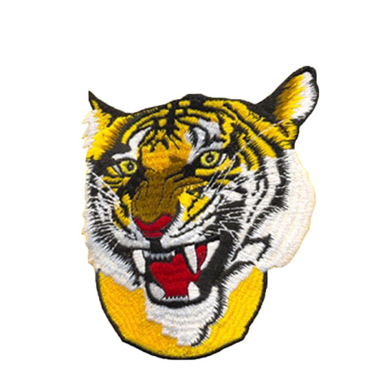Design Custom Tiger Head Logo High Density Machine Embroidery Badges and Patches for Clothes and Hat