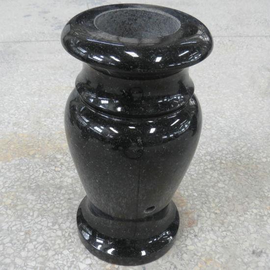 Turned Jet Black Granite Vase for Cemetery