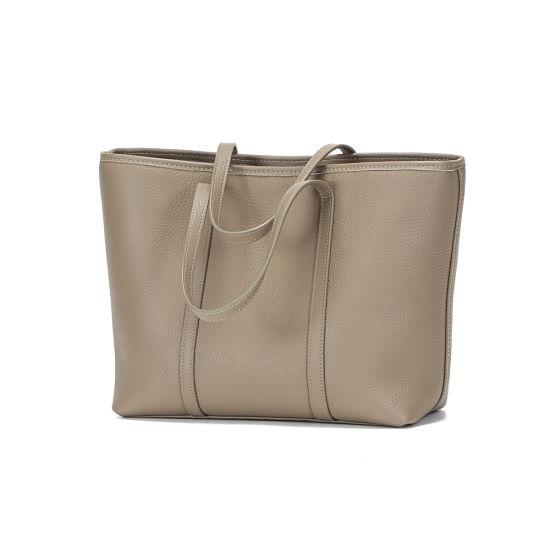 New Europe Fashion Genuine Leather Women Grey Tote Hand Bag