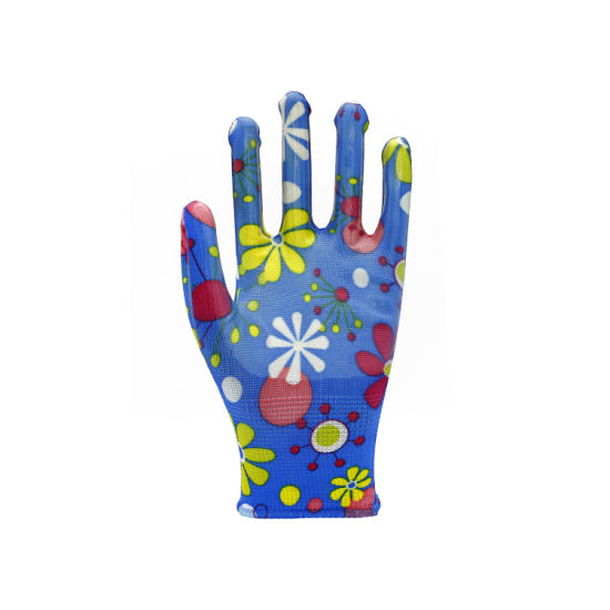 13G Printed Polyester PU Coated Colorful Garden Safety Work Glove