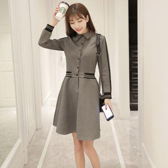 Slim Long-Sleeved MID-Length Lapels Dress
