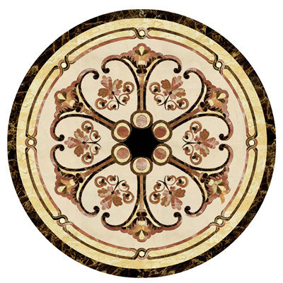 Black Beige Marble Stone Waterjet Medallion Tile pictures & photos