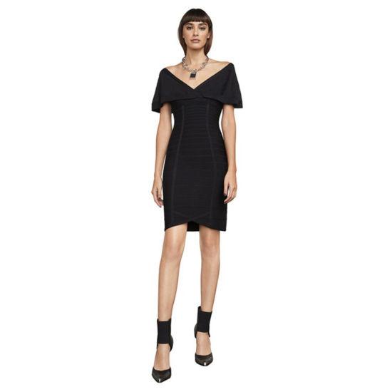 a8c27ba984 V-Necked Black Elegant off Shoulder Celebration Bodycon Dress Formal Dress