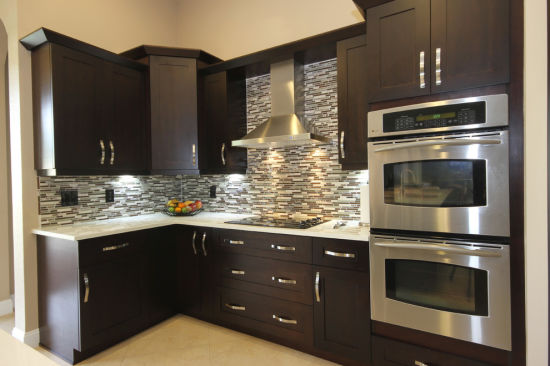 Low Price All Wood Kitchen Cabinet Espresso Shaker Project Wholesale