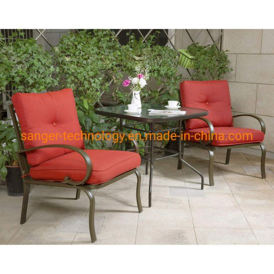 Patio Bistro Set 3 Piece Chair Set with Tempered Glass Top Dining Table Outdoor Bistro Patio Furniture Bistro Set Iron Frame Thick Cushion Garden Yard Balcony