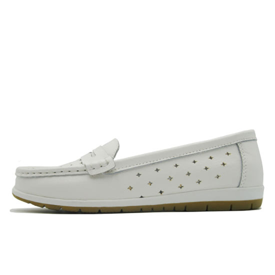Custom Available White Color Hollow Soft Genuine Shoes