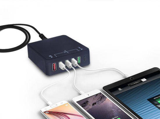 USB Type-C Adapter QC3.0 USB 5 Port Chargeing Power Adapter