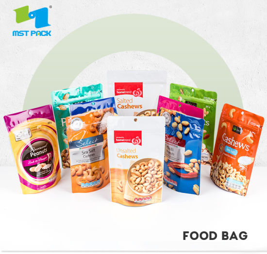 Custom Printed Stand up Ziplock Laminated Plastic Packing Pouch Bag for Food
