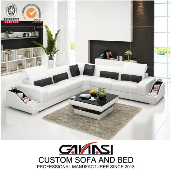 China Small Size L Shape Corner Leather Sofa for Living Room ...