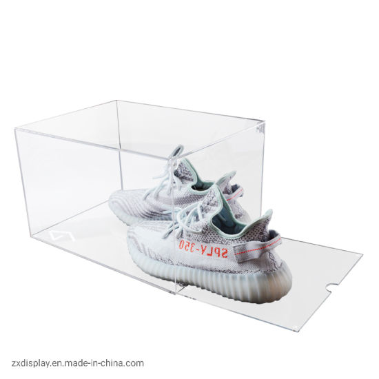 Clear High Quality Plastic Acrylic Drop Front Shoe Box pictures & photos