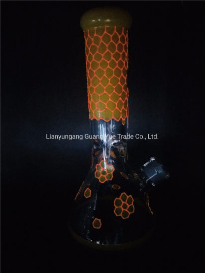 Colorful Glowing Glass Smoking Water Pipe with Honeycomb Design Glass Water Pipe