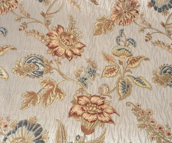 Golden Flower Print Poleyster Fabric for Wedding Dress pictures & photos