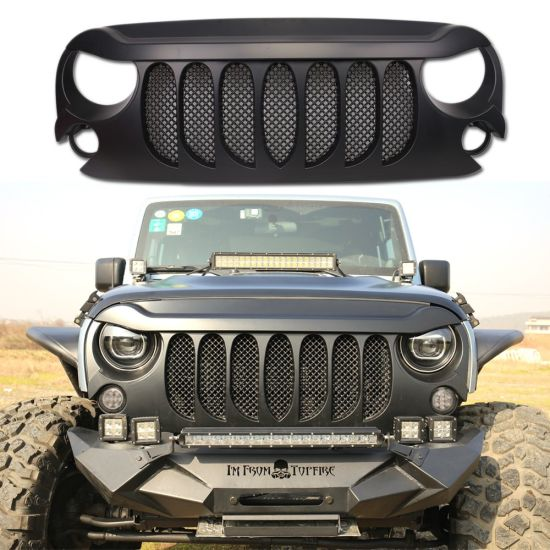 Jeep Wrangler Accessories 2017 >> Black Abs Front Grill For Jeep Jk Wrangler 2007 2017 Car Accessories