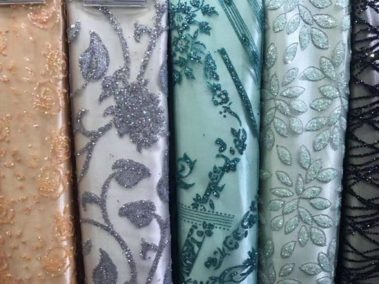Multi-Color Lace Fabric with Sequins for Party and Wedding Dress