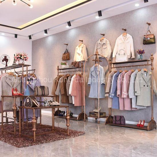 China Garment Showroom Interior Design Clothing Metal Display Shelf China Display Shelf And Metal Display Price