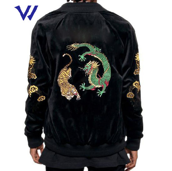 Men Double Velour Jacket Custom Embroidered Velvet Jacket Bomber