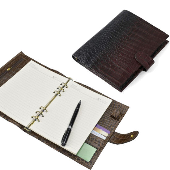 A5 Croc Print Leather Notebook Organizer Buckle Closure Ring Journal