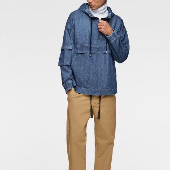 Custom Casual Denim Fabric Long Jeans Jacket Mens Blue