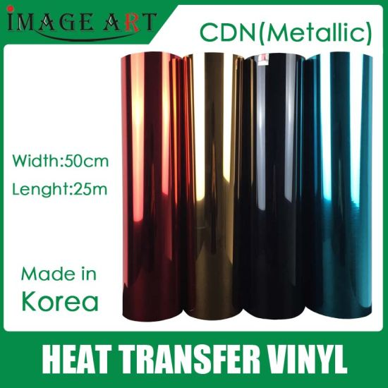 Korea Metallic Heat Transfer Vinyl /Film for T Shirt Printing for Selling One Roll 0.5*25m