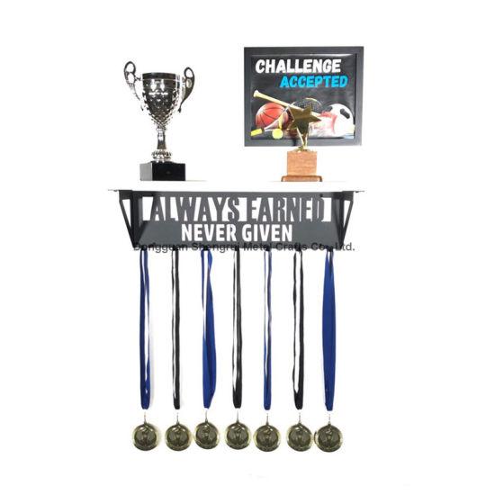 Metal Medal Hook Hanger Wood Trophy Shelf