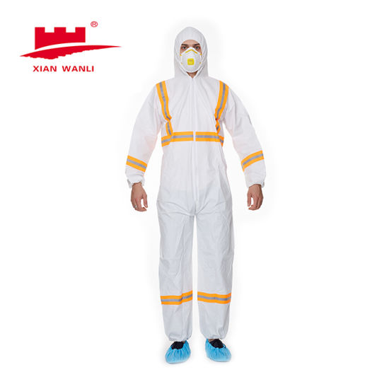 Disposable Waterproof Plastic Reflective Tape Hooded Type 3/4/5/6 Coverall