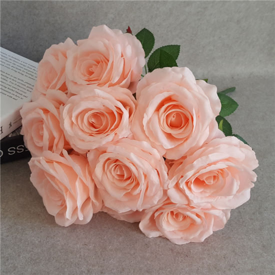 Light Peach Artificial Hydrangea Posy x 5 Stems Home Wedding Flower Decoration