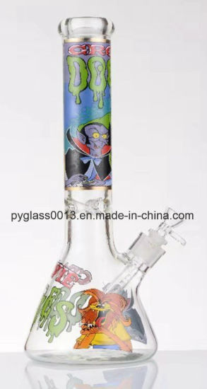 2018 New Glass Water Smoking Pipe with Decals
