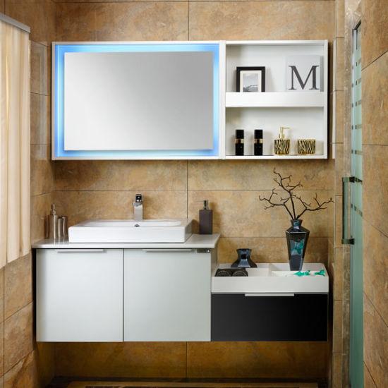 Oppein Fashion Black and White Modular Bathroom Vanity (OP14-027)