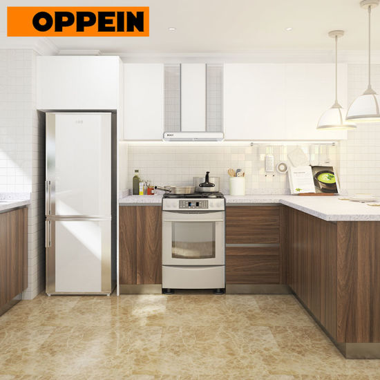 China Oppein Modular Polymer Kitchen Cabinet With Flat Panel And