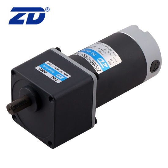 Classic Style Reversible Electric DC 60W 90mm Frame Gear Motor with Eccentric Output Shaft