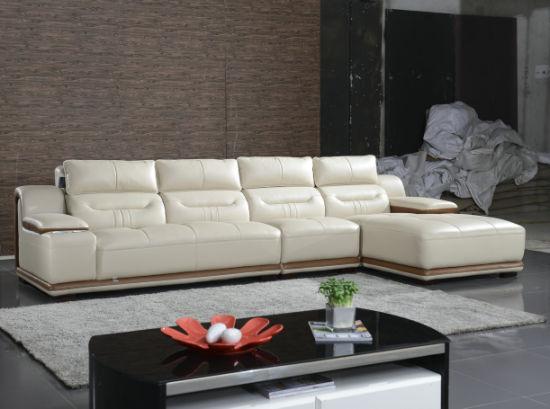 China Cream Color L Shape Living Room Home Furniture Leather Sofa