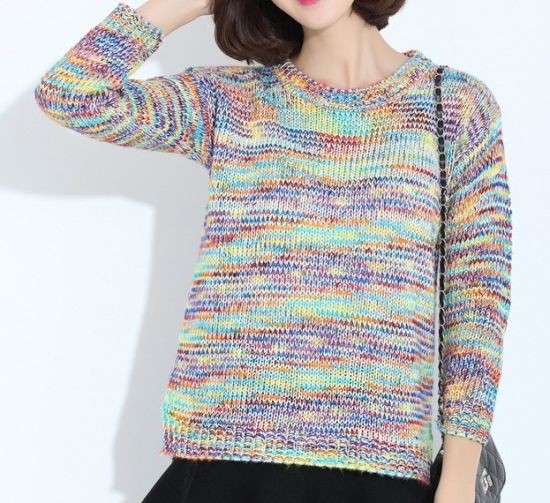 4e404d492 China Rainbow Colored T-Shirt Baggy Sweater - China Knitted Sweater ...