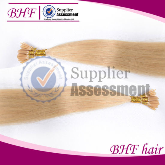 60# White Blonde Itip 0.8g 20inch I Tip Hair Extensions Brown 100PCS 7A Grade Cold Fusion Brazilian Hair Extensions Black Remy pictures & photos